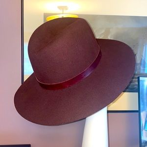Janessa Leone burgundy wool hat large made usa